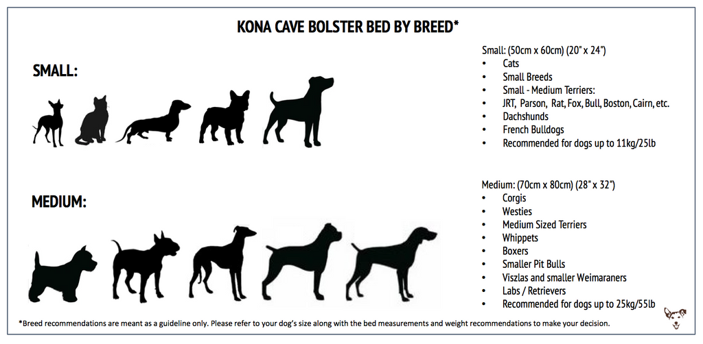 Dog Bed Size Chart_Kona Cave Bolster Dog Beds
