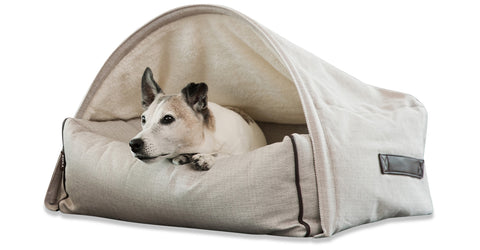 KONA CAVE, Luxury dog cave bed for dogs that like to sleep under blankets, designed for elegant homes, washable