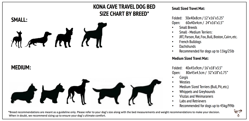 TRAVEL DOG BED SIZE CHART