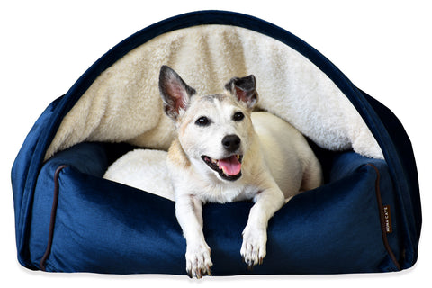 KONA CAVE Snuggle Cave Dog Bed Luxury Velvet Collection - Loved by Terrier Breeds