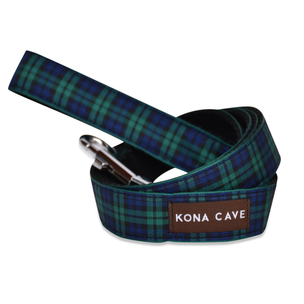 KONA CAVE ® - dog leash / lead  in authentic Blackwatch tartan (blue/green)