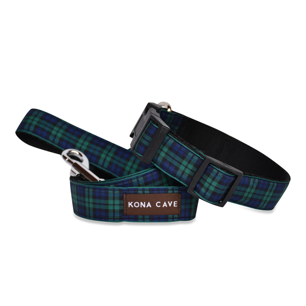 KONA CAVE ® - adjustable size dog collar and lead in authentic Blackwatch tartan (blue/green)