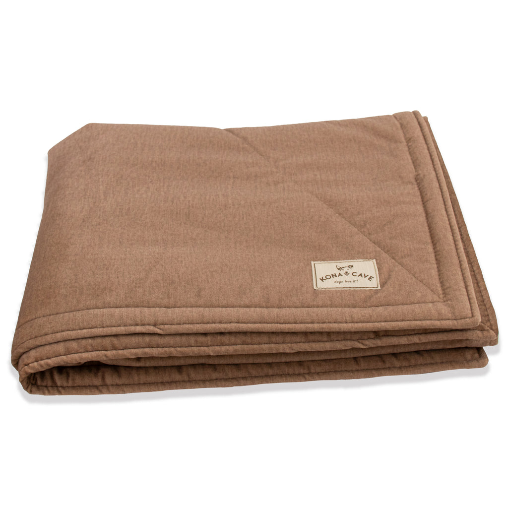 KONA CAVE® Beige Velvet Furniture Blanket with Sherpa Fleece Lining (Large)