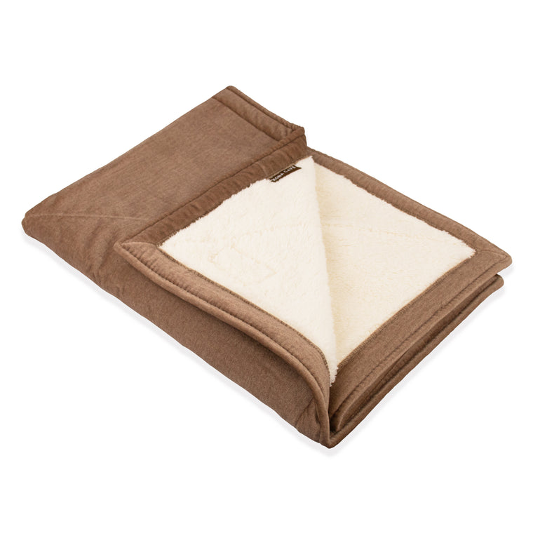 KONA CAVE® Beige Velvet Pet Blanket with Sherpa Fleece Lining (Small)
