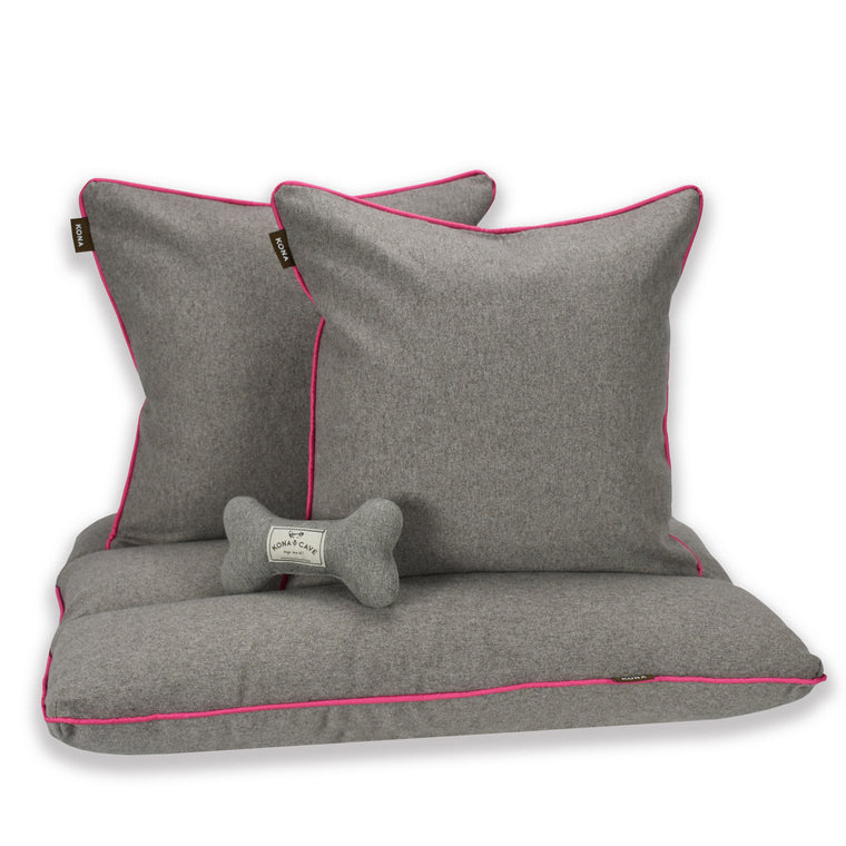 Cloud Bed Set - Grey Flannel with Hot Pink Trim