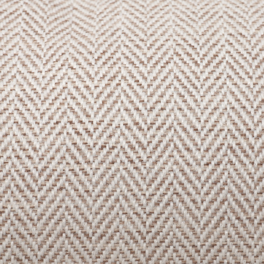 KONA CAVE® designer bolster dog bed in elegant cream herringbone fabric - detail.