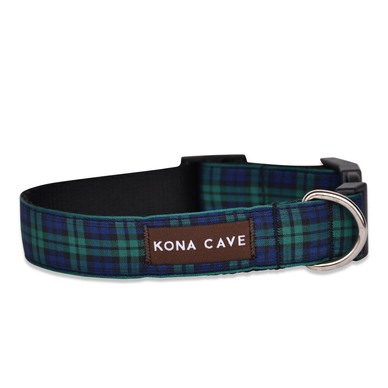 KONA CAVE ® - adjustable size dog collar in authentic Blackwatch tartan (blue/green)