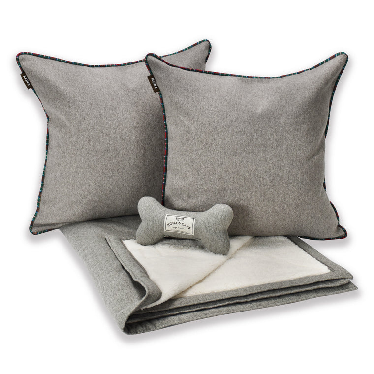 Doggy Décor Set - Grey Flannel with Tartan Trim