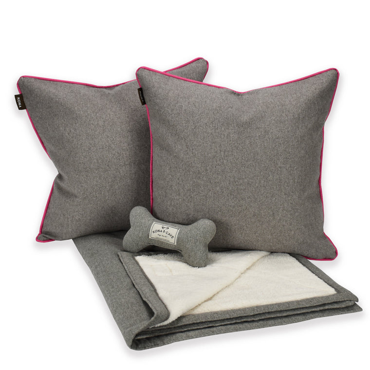 Doggy Décor Set - Grey Flannel with Hot Pink Trim