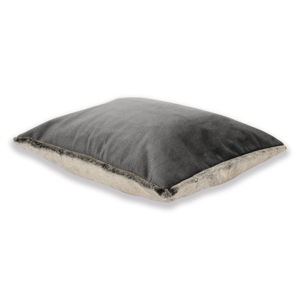 Dream Cushion - Graphite Grey Velvet with Faux Fur & Memory Foam Mattress