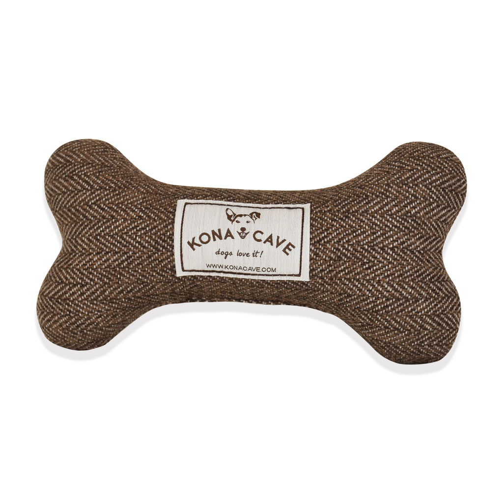 Dog Bone Toy - Brown Herringbone