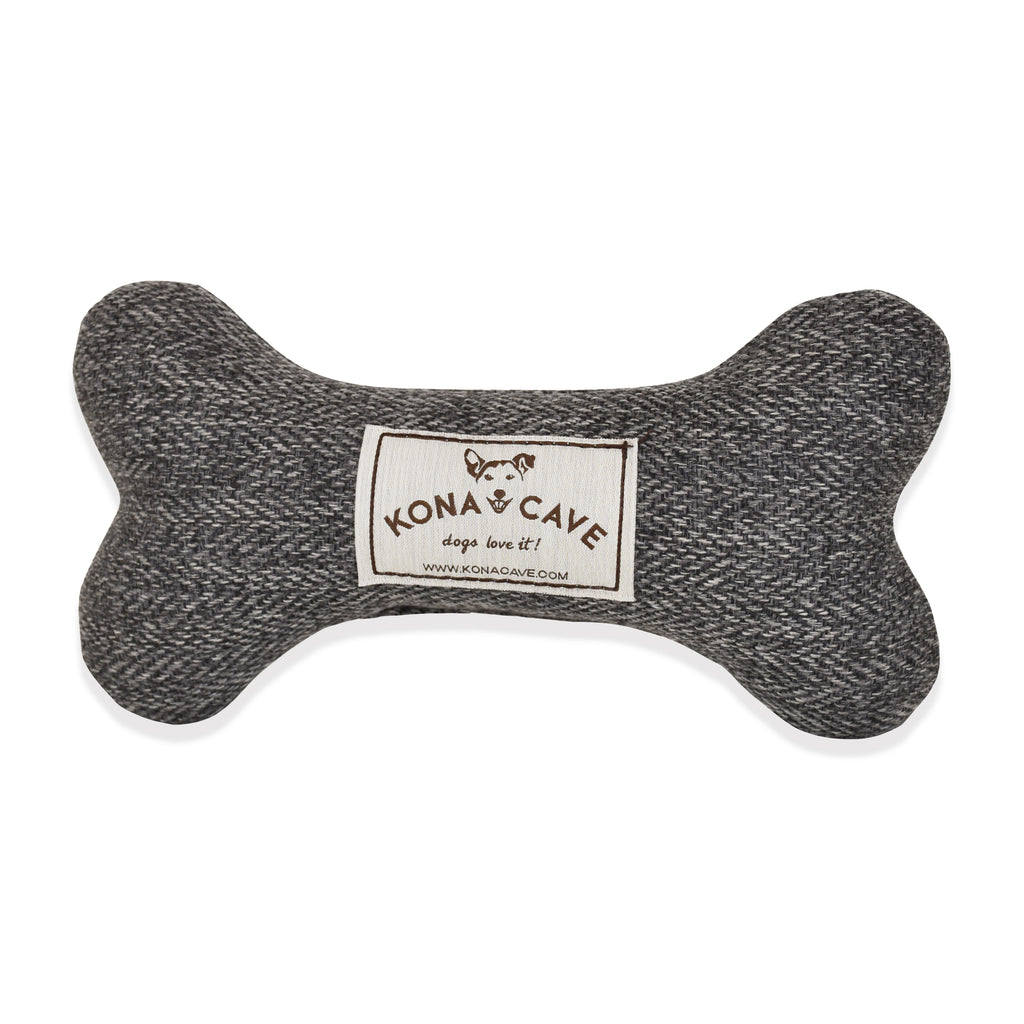 Dog Bone Toy - Grey Herringbone