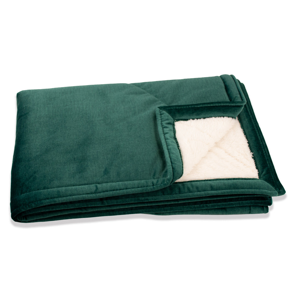KONA CAVE® Emerald Green Velvet Furniture Blanket with Sherpa Fleece Lining (Large)