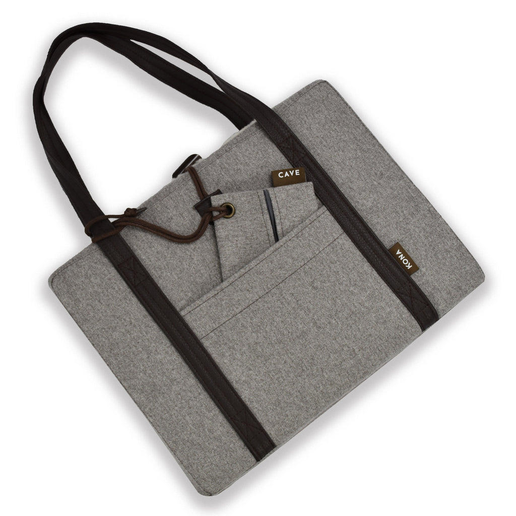 KONA CAVE® Travel Dog Bed in Grey Flannel with real wool lining and matching Essential Zipper Bag
