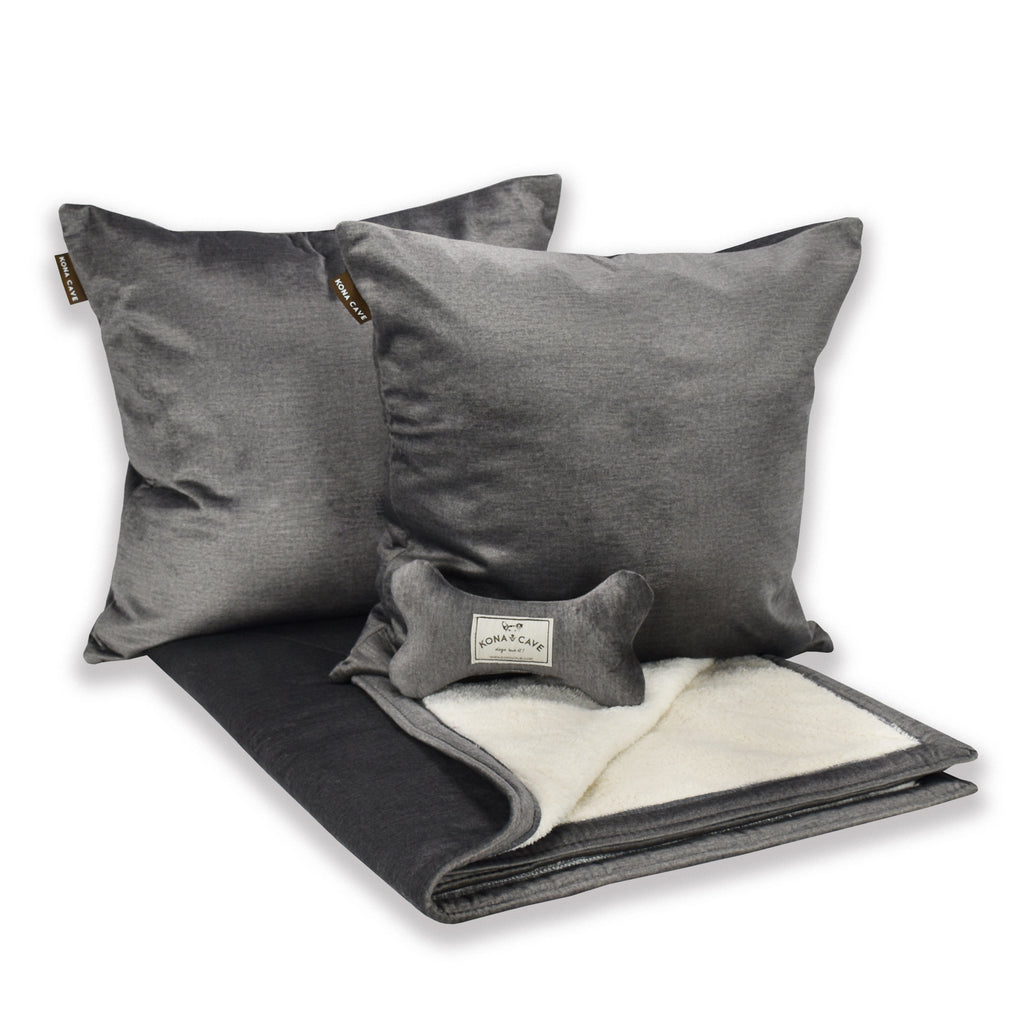 Doggy Décor Set - Grey Velvet