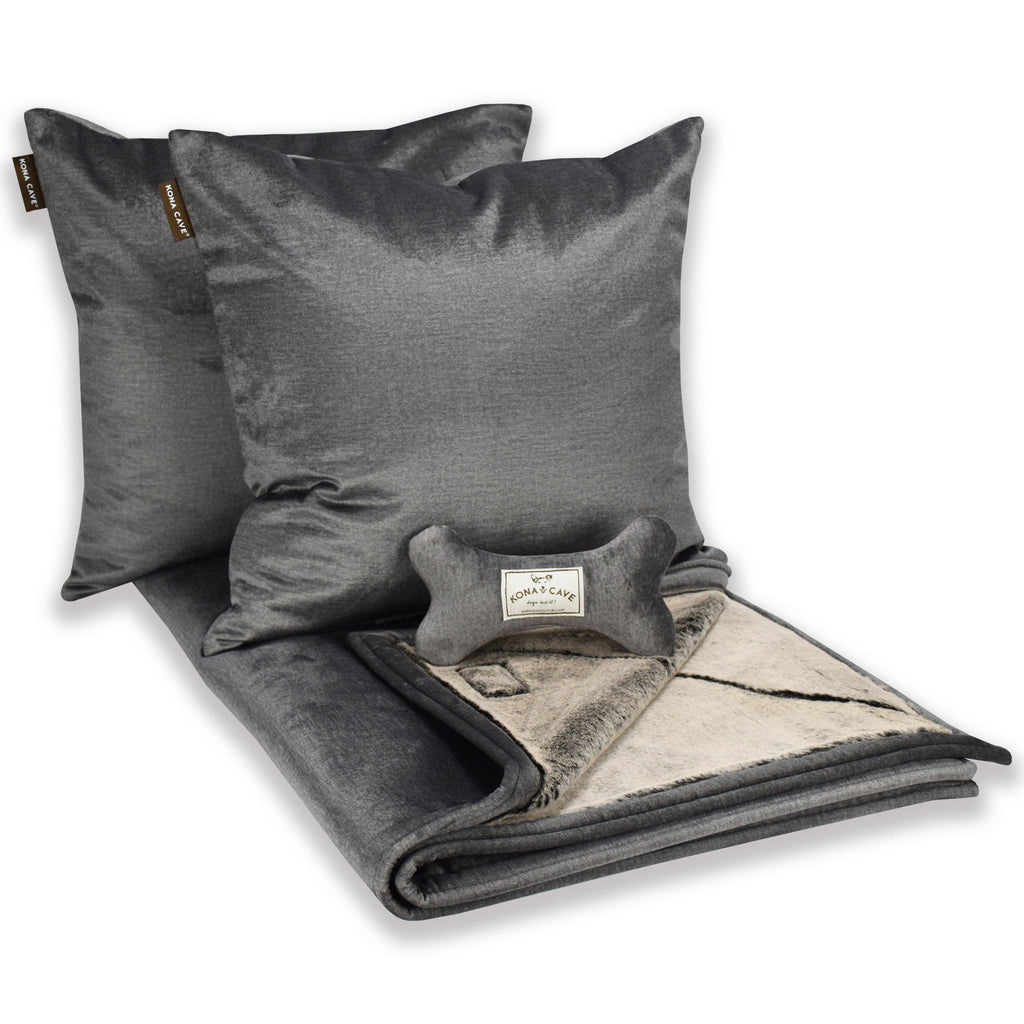 Doggy Décor Set - Graphite Grey Velvet with Faux Fur