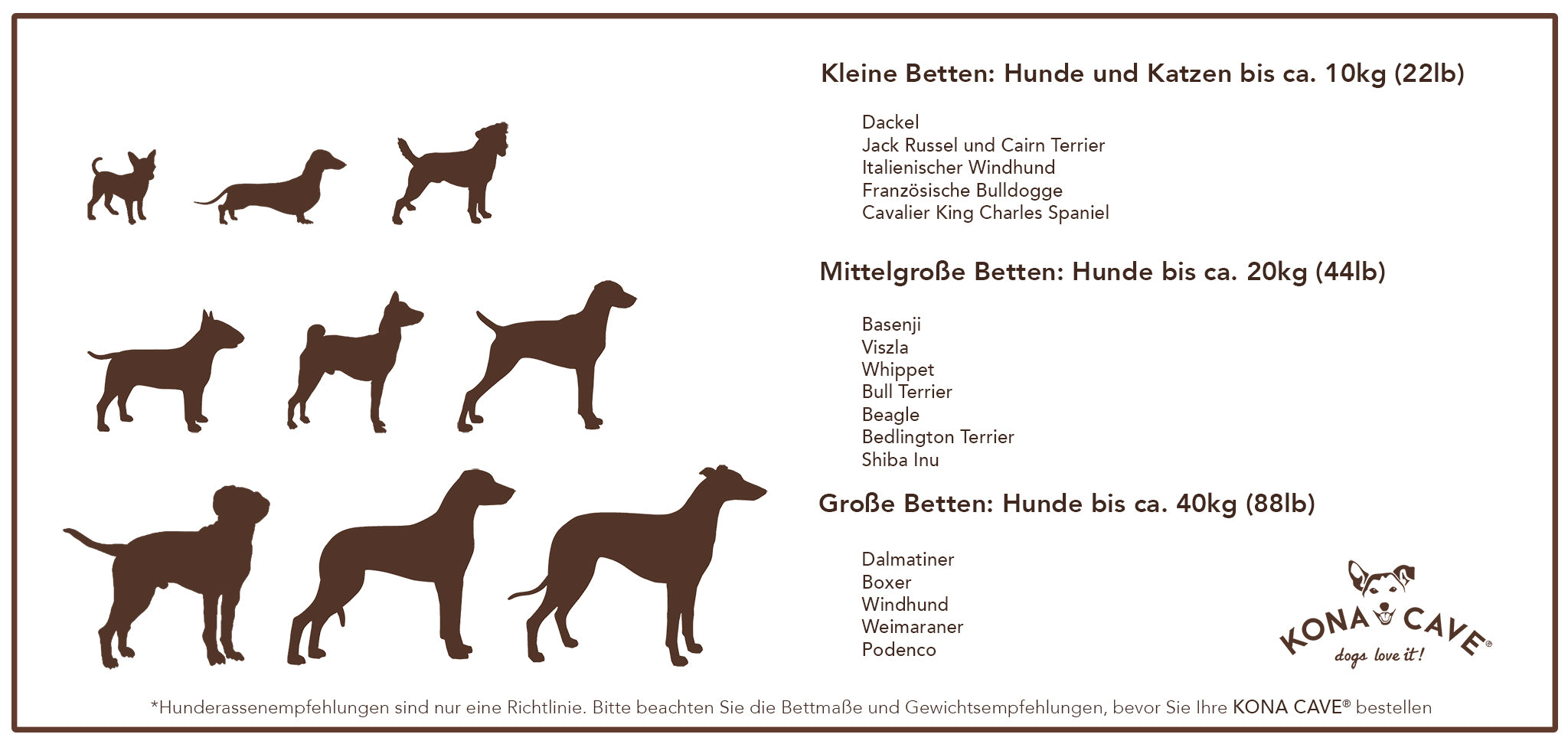 KONA CAVE Dog Bed Size Chart - washable, designer dog beds for small and large dogs