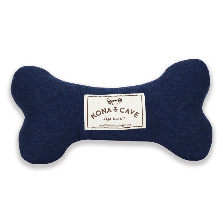 Toy Dog Bone - Navy Blue Flannel