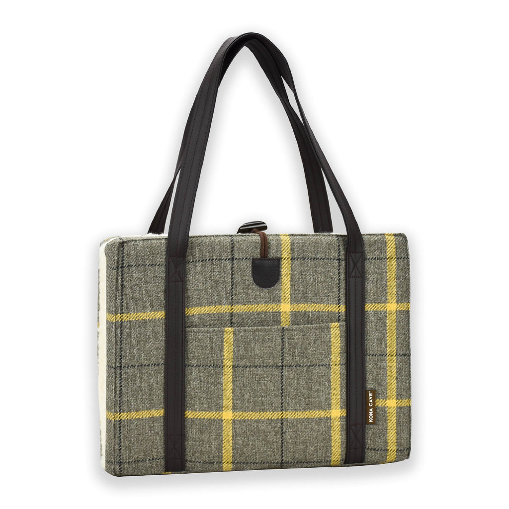 KONA CAVE® Beige and Gold Country Plaid with Chocolate Brown Vegan Leather Shoulder Straps and Finishings and Natural Sheep's Wool Lining