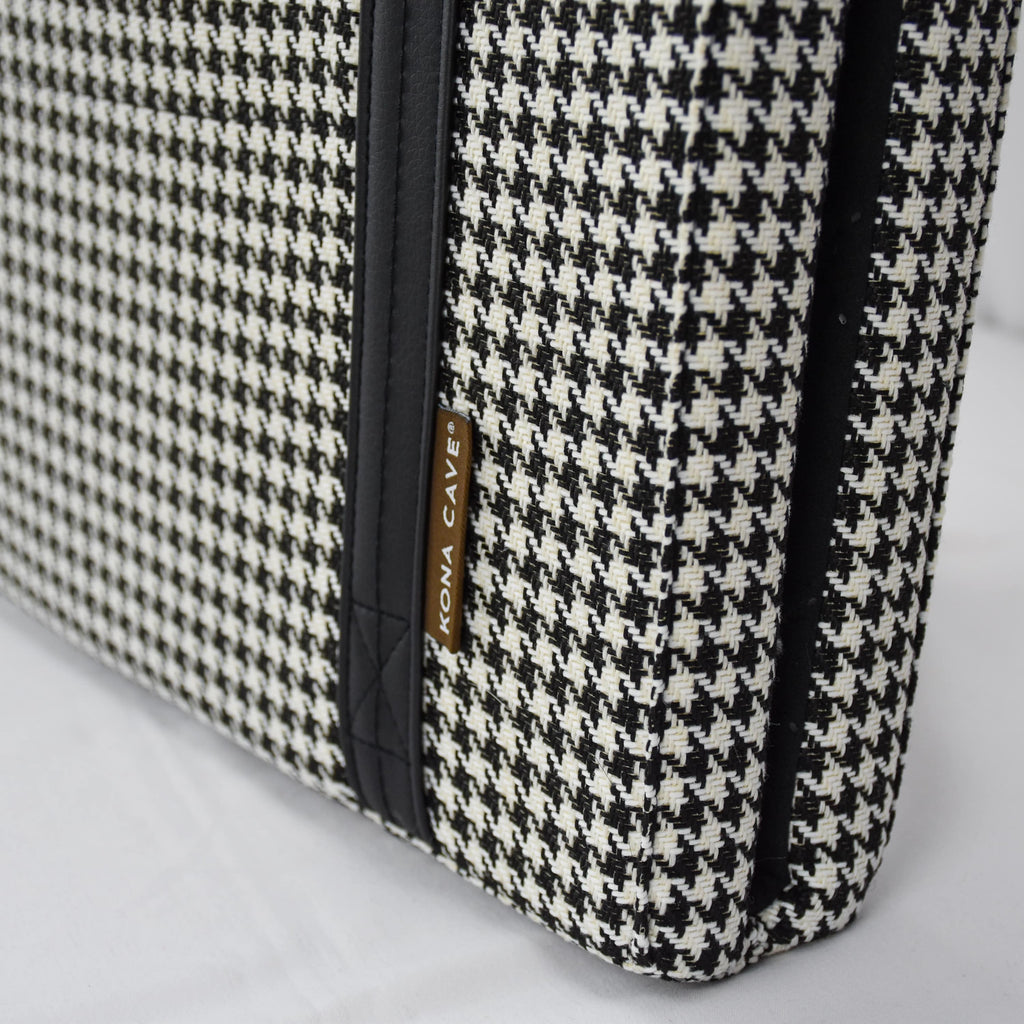 Close up of designer black and white houndstooth fabric that is also semi-stain resistant and machine washable