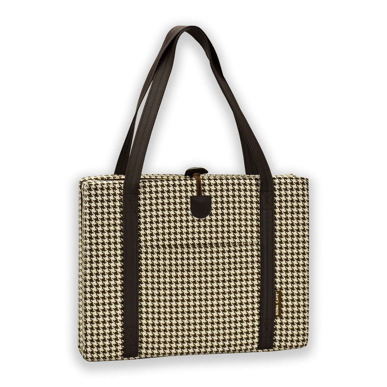 KONA CAVE® Travel Dog Bed in brown and white houndstooth with brown vegan leather shoulder straps, handy front pocket and one-handed toggle closure