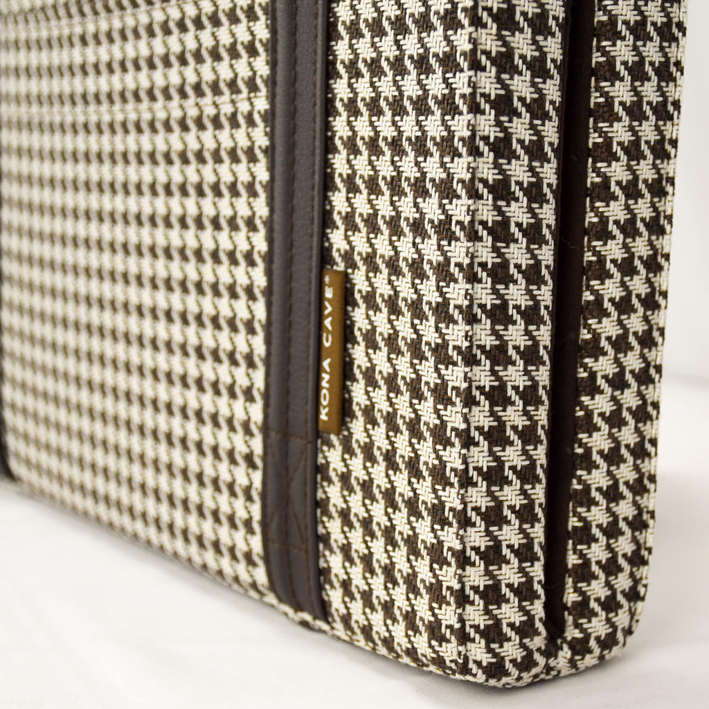 Close up of Brown and White Houndstooth Travel Dog Bed by KONA CAVE® - semi-stain resistant fabrics and machine washable