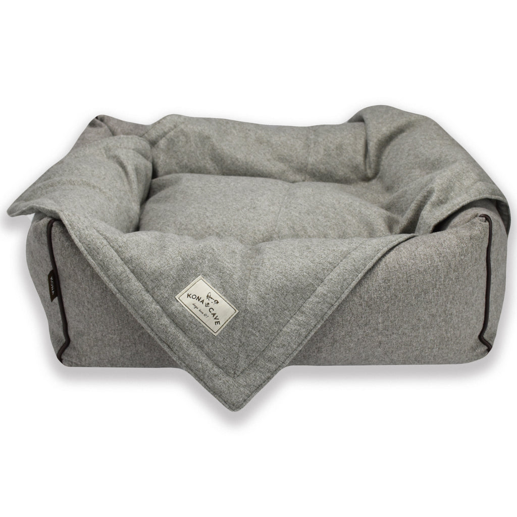 KONA CAVE® Grey Flannel Pet Blanket with Grey Flannel Bolster Bed in small - perfect for keeping your dog's bed clean in between washes