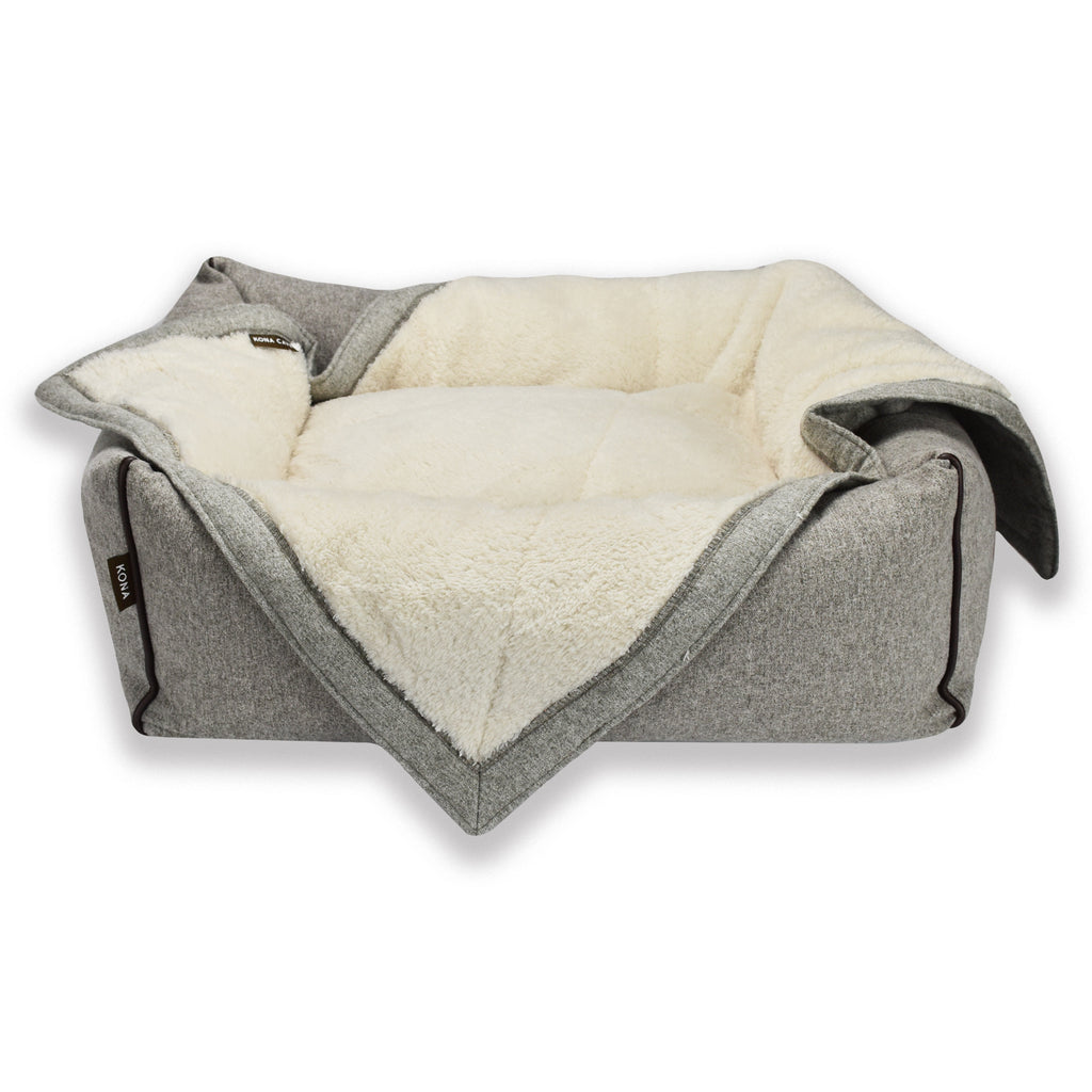 KONA CAVE® Grey Flannel Pet Blanket with Grey Flannel Bolster Bed in small - add extra warmth and cosy-ness to your dog's bed in the cooler months