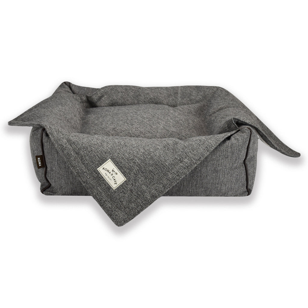KONA CAVE® Grey Herringbone Pet Blanket and Bolster Bed coordinate perfectly for the style conscious dog and pet parent