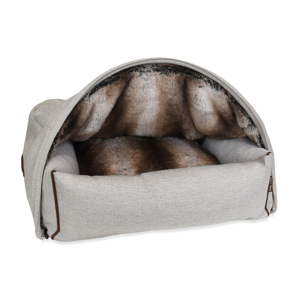 Snuggle Cave Dog & Cat Bed - Limited Edition - Faux Fur with Cream Herringbone