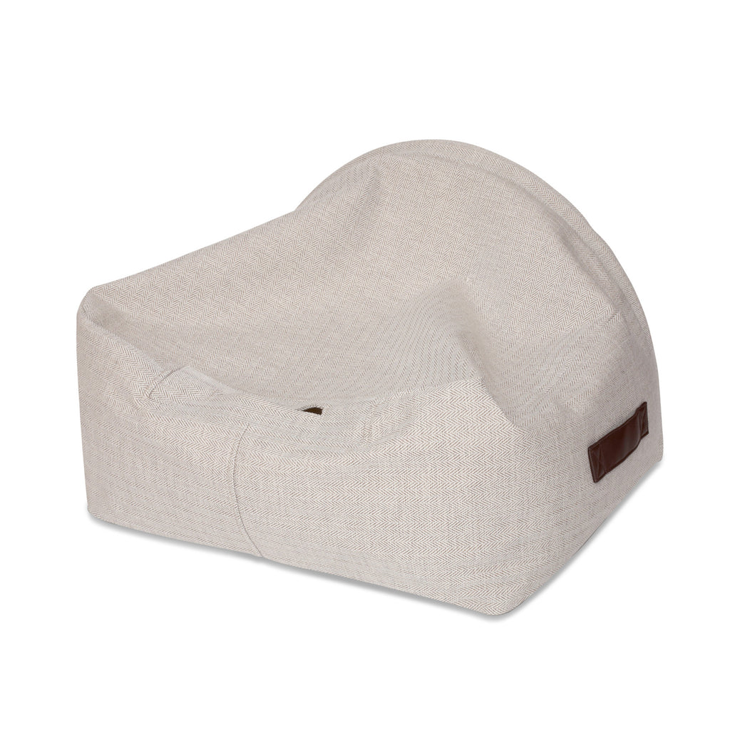 Snuggle Cave Dog Bed - Limited Edition - Cream Herringbone with Luxury Faux Fur Lining