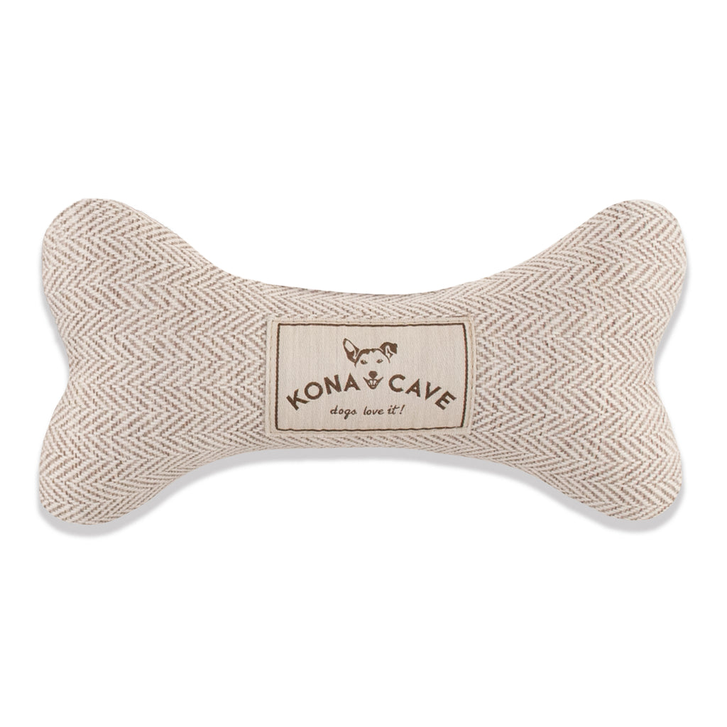 Dog Bone Toy - Cream Herringbone