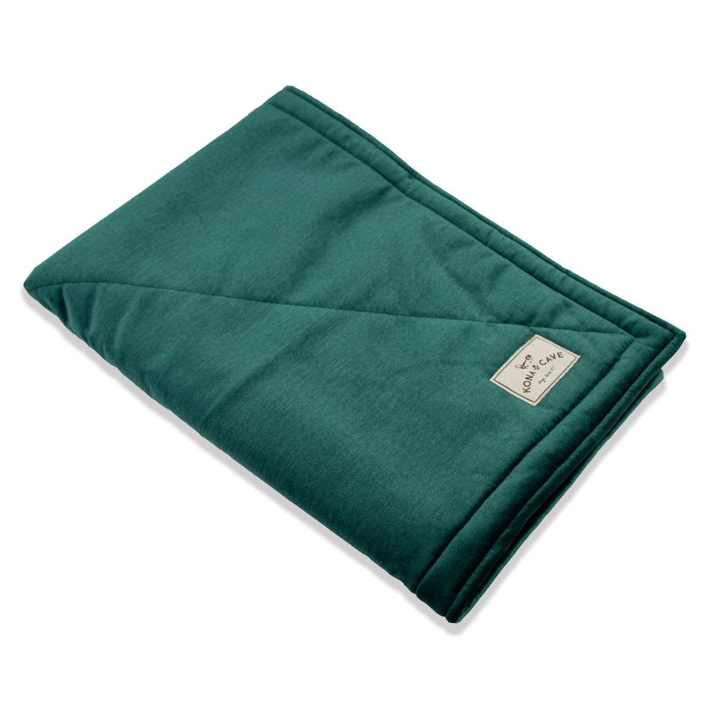 KONA CAVE® Emerald Green Velvet Pet Blanket with Sherpa Fleece Lining (Small)