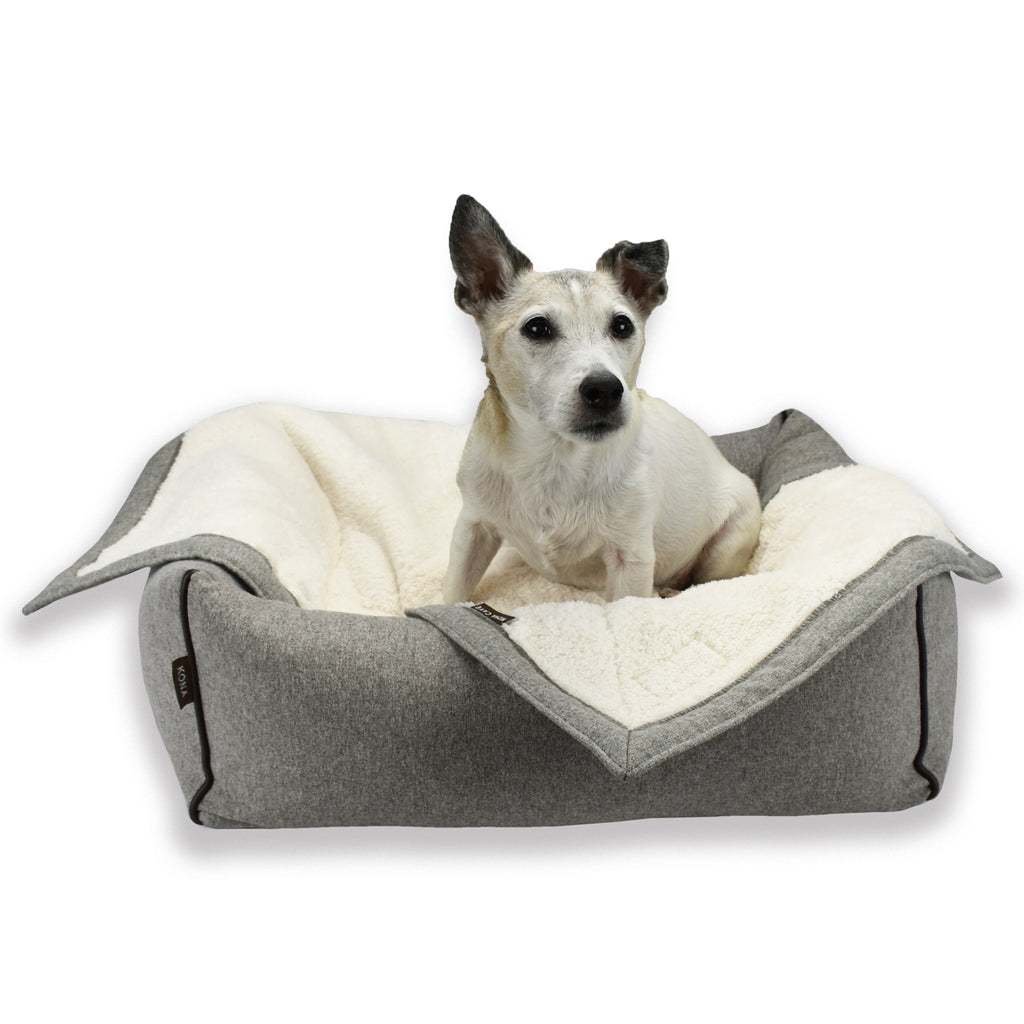 Kona the Jack Russel Terrier models the KONA CAVE® Grey Flannel Pet Blanket and Bolster Bed in size Small