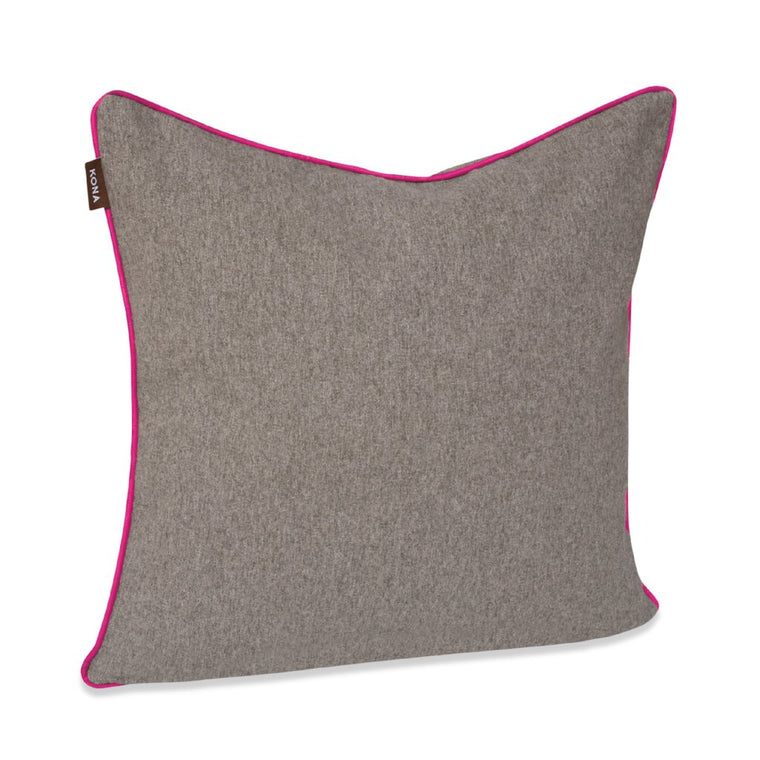 Decorative Pillow Cover - Grey Flannel with Hot Pink Trim