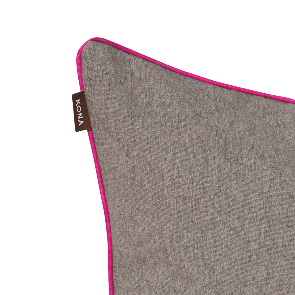 Pillow Cover - Grey Flannel with Hot Pink Trim