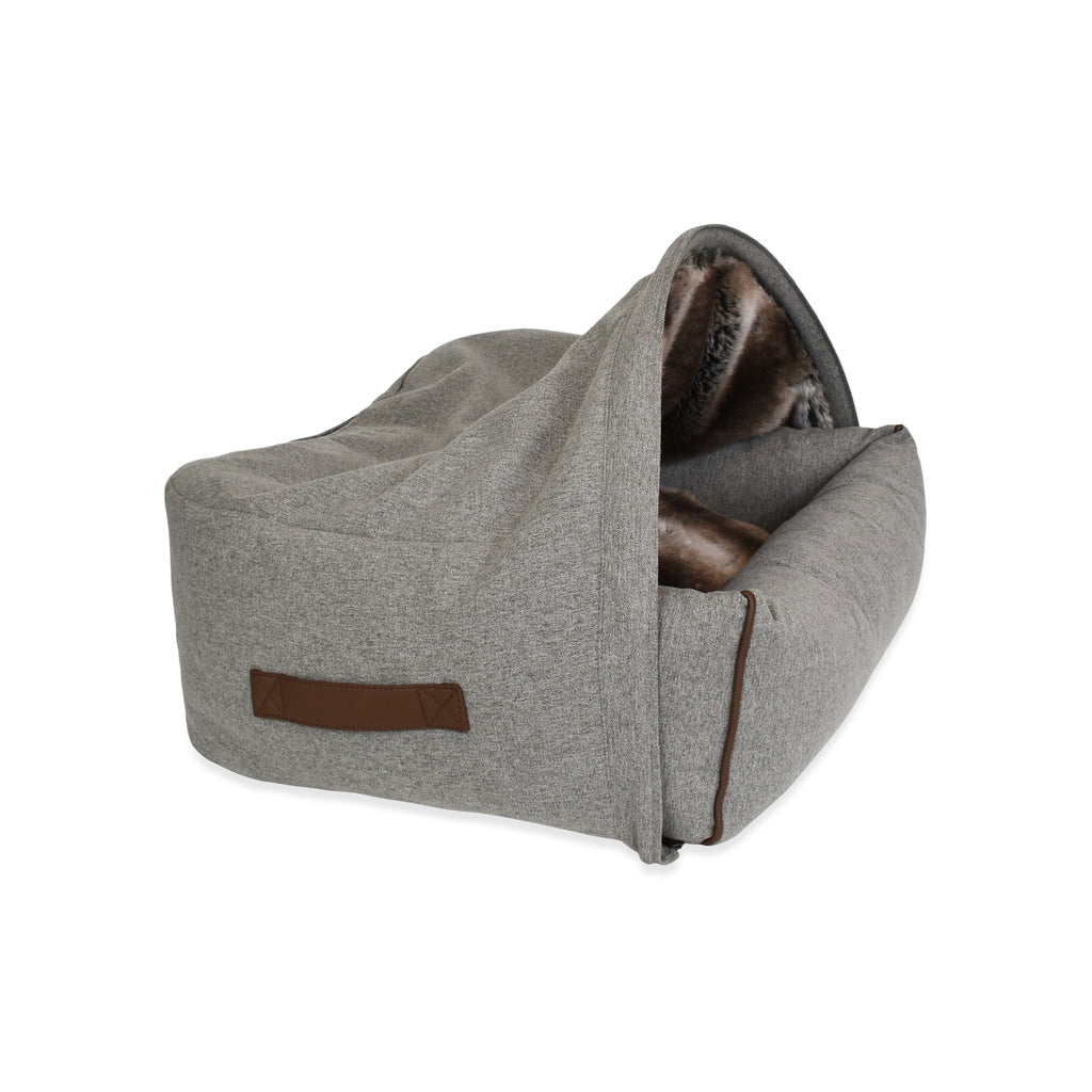 Snuggle Cave Dog & Cat Bed - Faux Fur with Grey Flannel