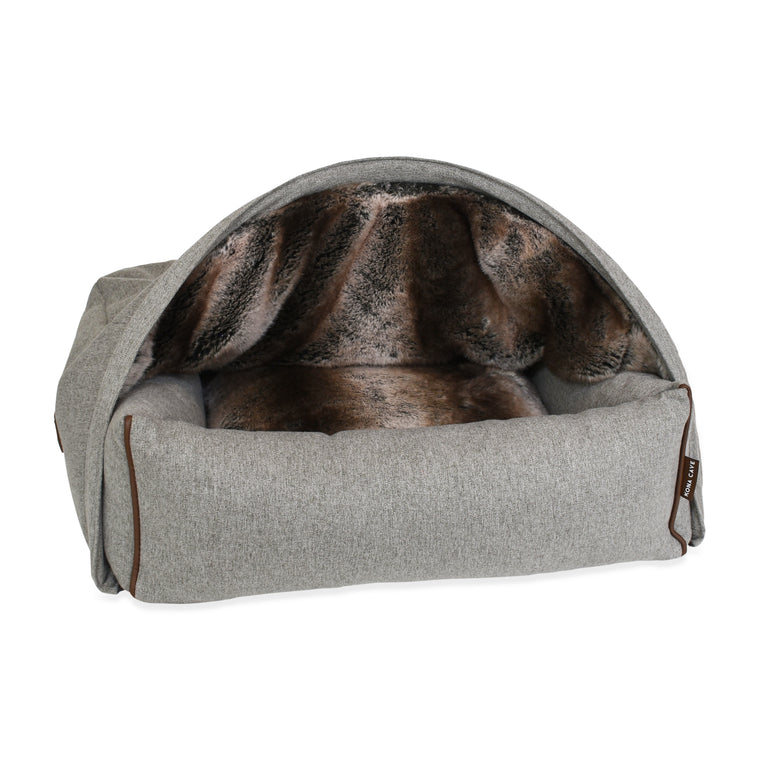 Snuggle Cave Dog Bed - Grey Flannel with Luxury Faux Fur