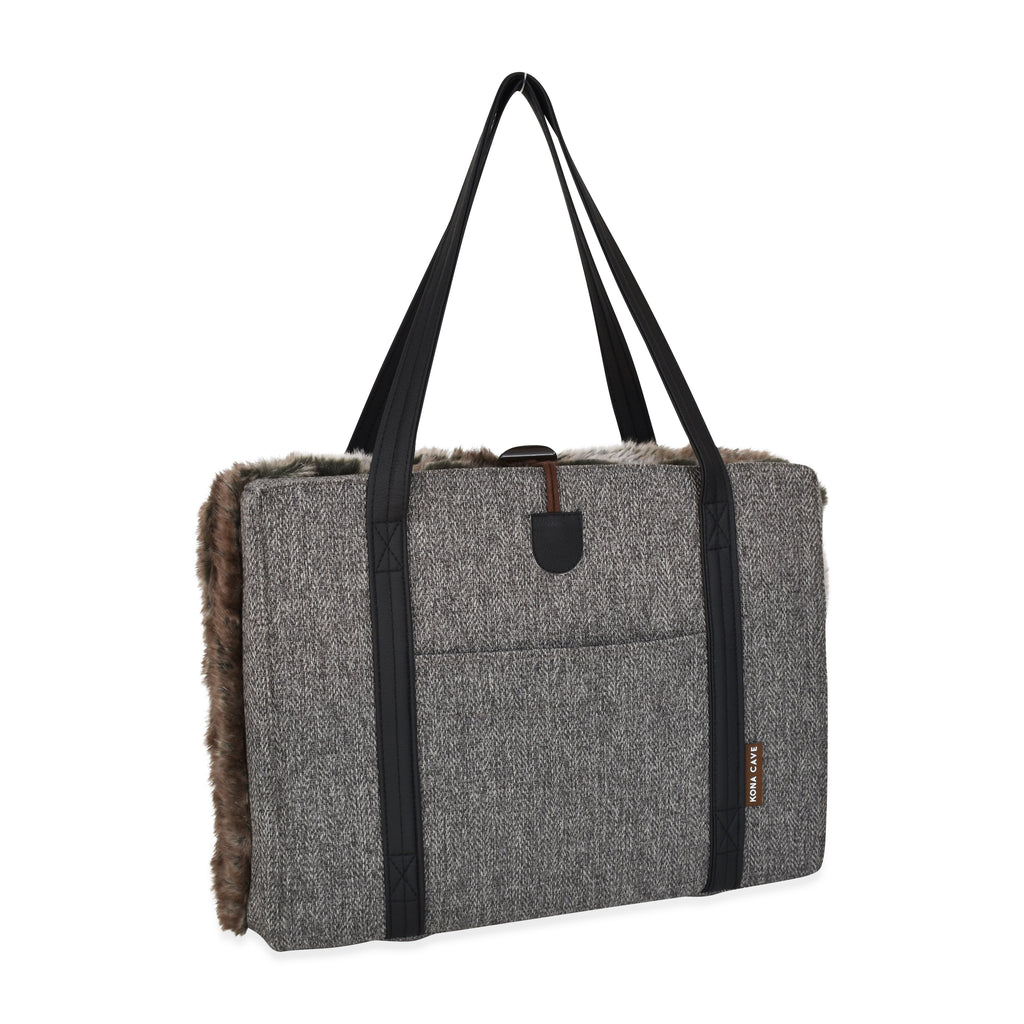 Travel Dog Bed - Limited Edition - Grey Herringbone with Luxury Faux Fur Lining - Small