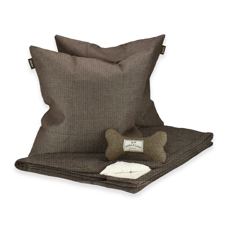 KONA CAVE® Pet Gift Set in Brown Herringbone