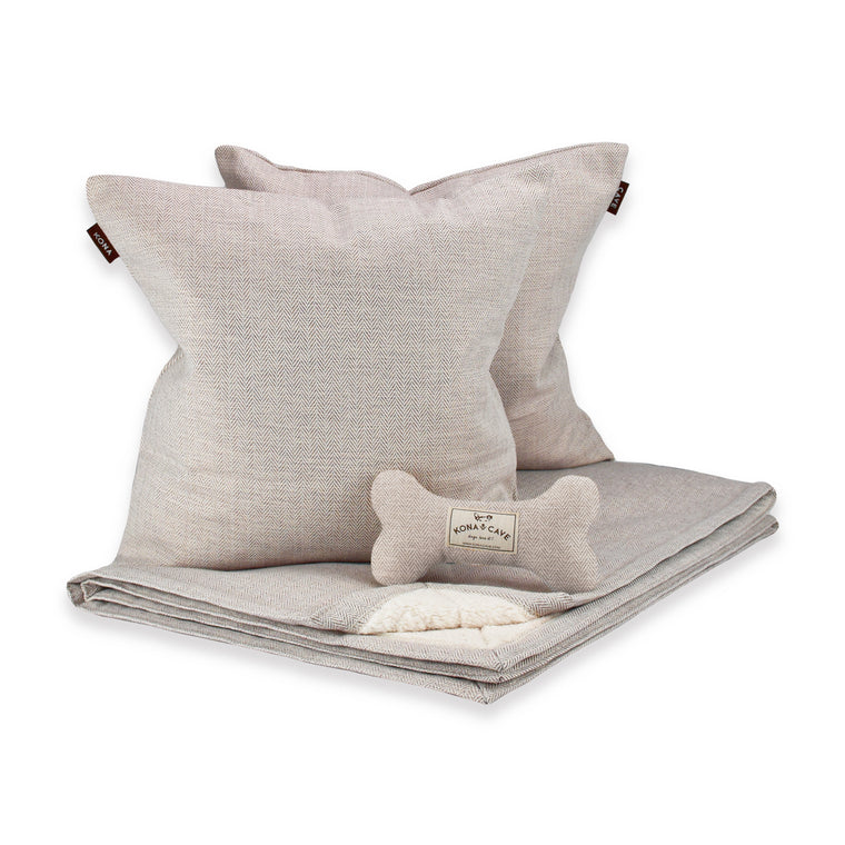 Doggy Décor Set - Cream Herringbone