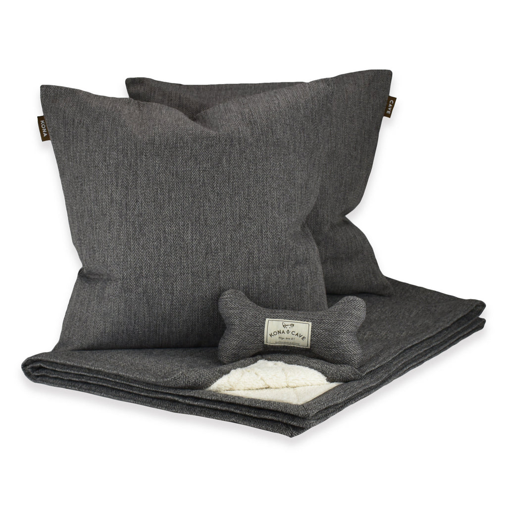 Doggy Décor Set - Grey Herringbone
