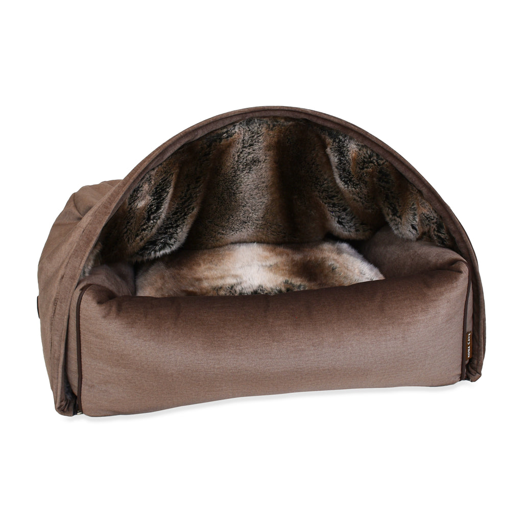Snuggle Cave Dog Bed - Limited Edition - Taupe Velvet with Luxury Faux Fur Lining