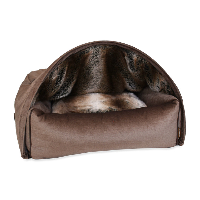 Snuggle Cave Dog Bed - Taupe Velvet with Luxury Faux Fur