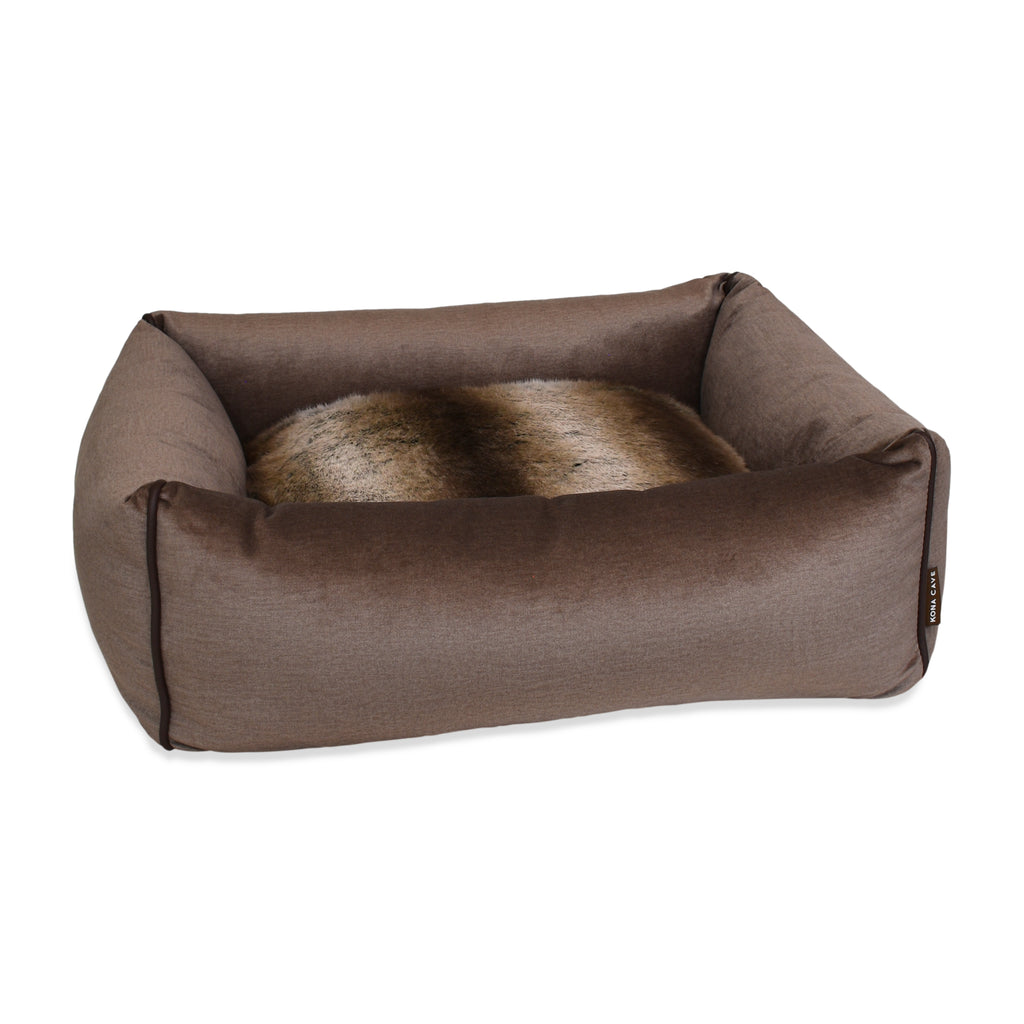 Snuggle Cave Dog & Cat Bed - Limited Edition - Faux Fur with Taupe/Tan Velvet