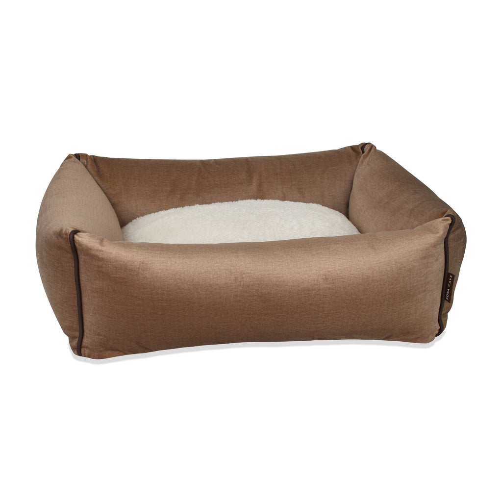 Bolster Dog Bed  - Beige Velvet