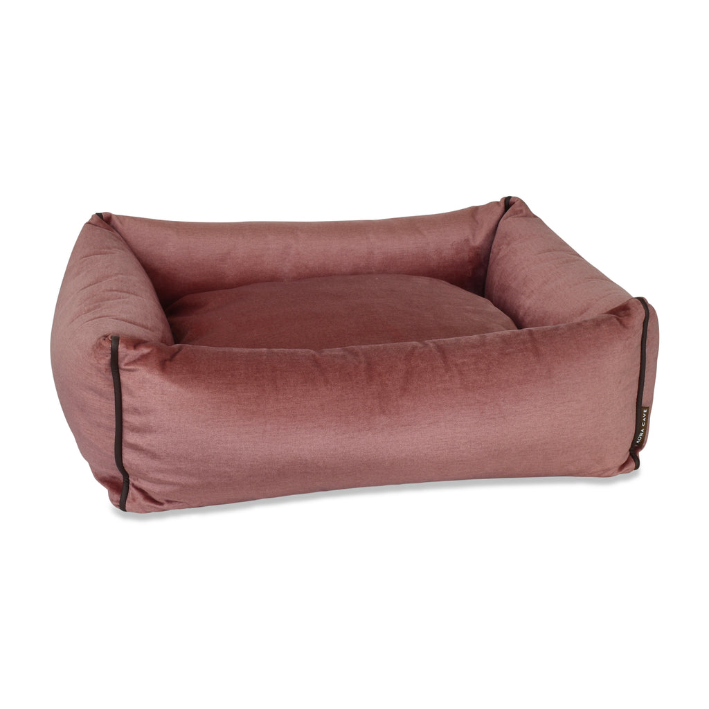 Bolster Dog Bed  - Pale Pink Velvet