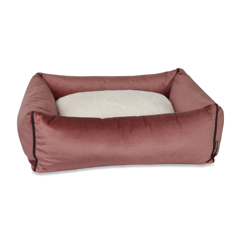 Bolster Pet Bed - Pale Pink Velvet