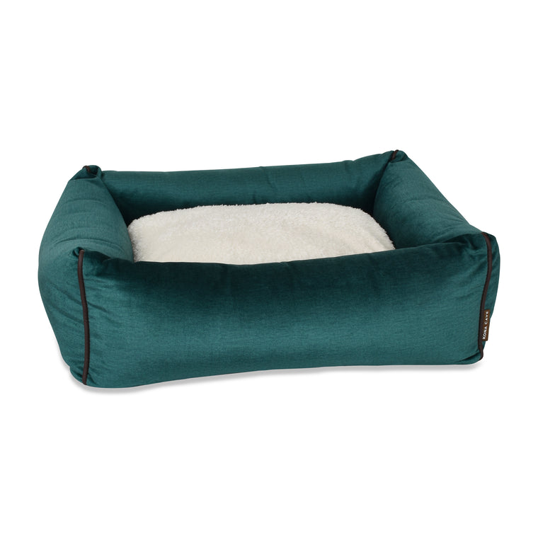 Bolster Dog Bed  - Emerald Green Velvet
