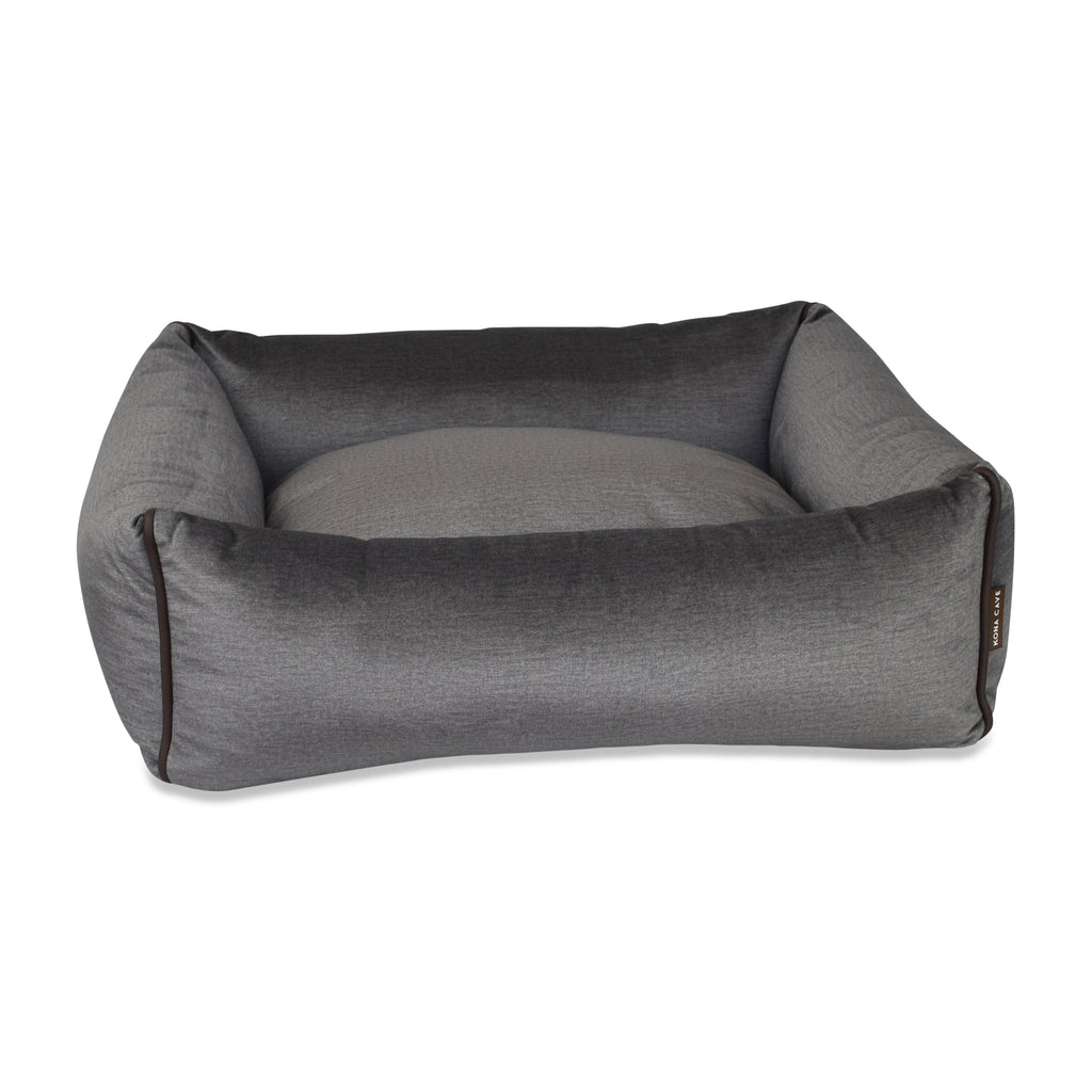 Bolster Pet Bed - Graphite Grey Velvet